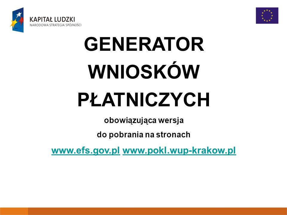 do pobrania na stronach www.efs.gov.pl www.pokl.wup-krakow.pl
