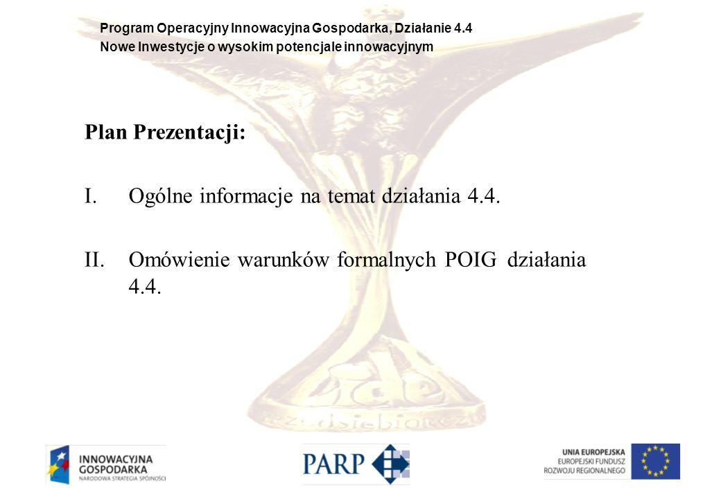 Plan Prezentacji: Ogólne informacje na temat działania 4.4.