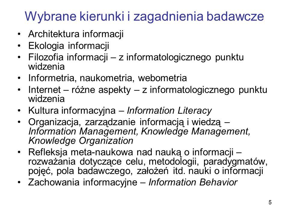Wybrane kierunki i zagadnienia badawcze