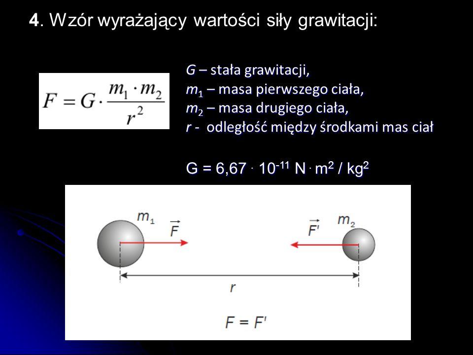 4. Wzór wyrażający wartości siły grawitacji: