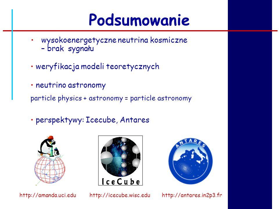 Podsumowanie wysokoenergetyczne neutrina kosmiczne – brak sygnału