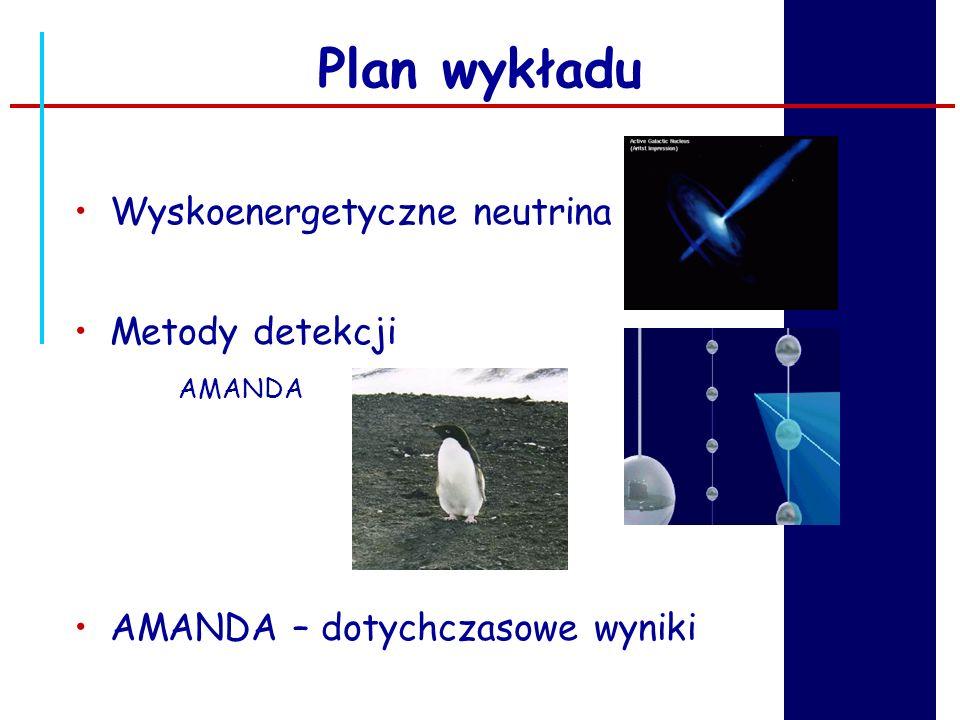 Plan wykładu Wyskoenergetyczne neutrina Metody detekcji