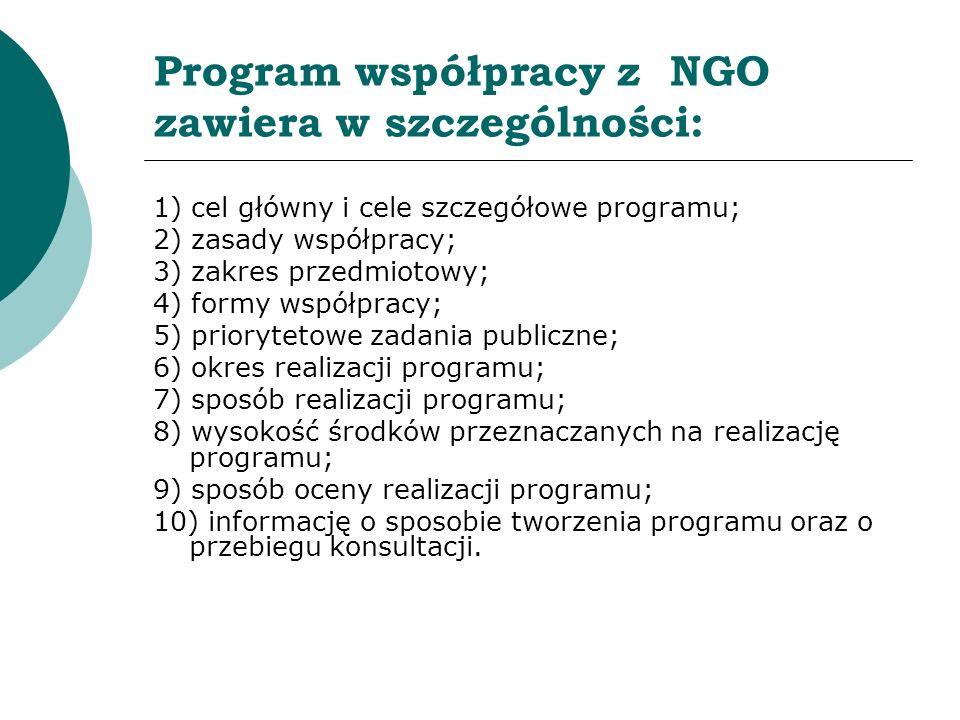 Program współpracy z NGO zawiera w szczególności: