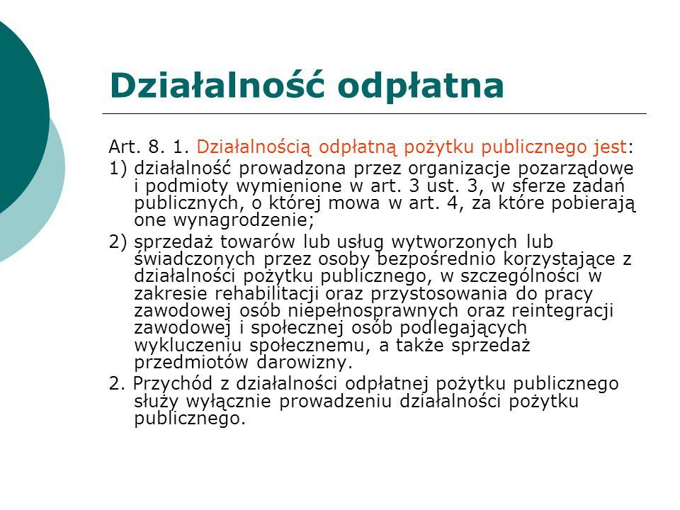 Działalność odpłatna Art. 8. 1. Działalnością odpłatną pożytku publicznego jest:
