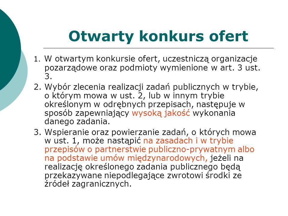 Otwarty konkurs ofert 1. W otwartym konkursie ofert, uczestniczą organizacje pozarządowe oraz podmioty wymienione w art. 3 ust. 3.