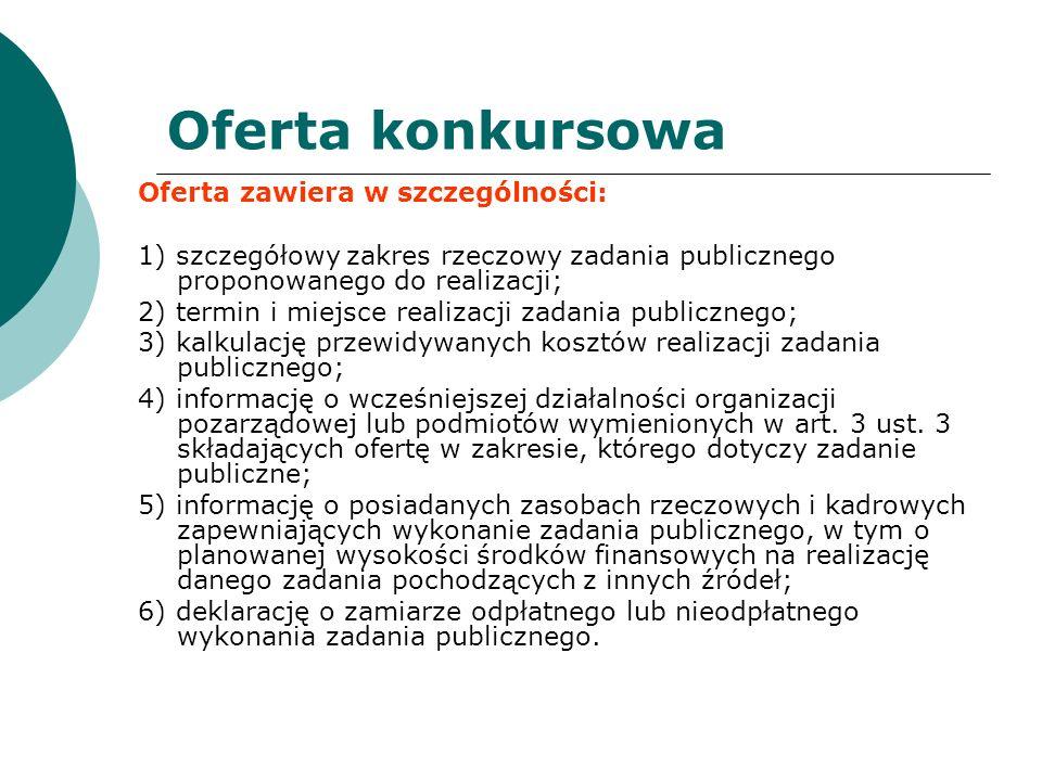 Oferta konkursowa Oferta zawiera w szczególności: