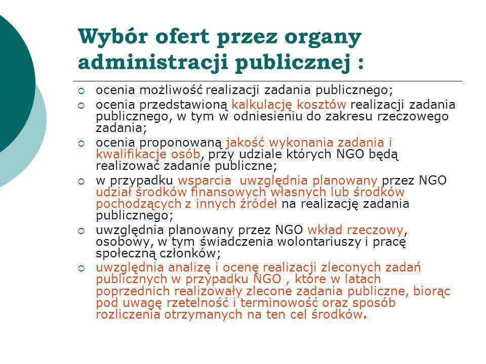 Wybór ofert przez organy administracji publicznej :
