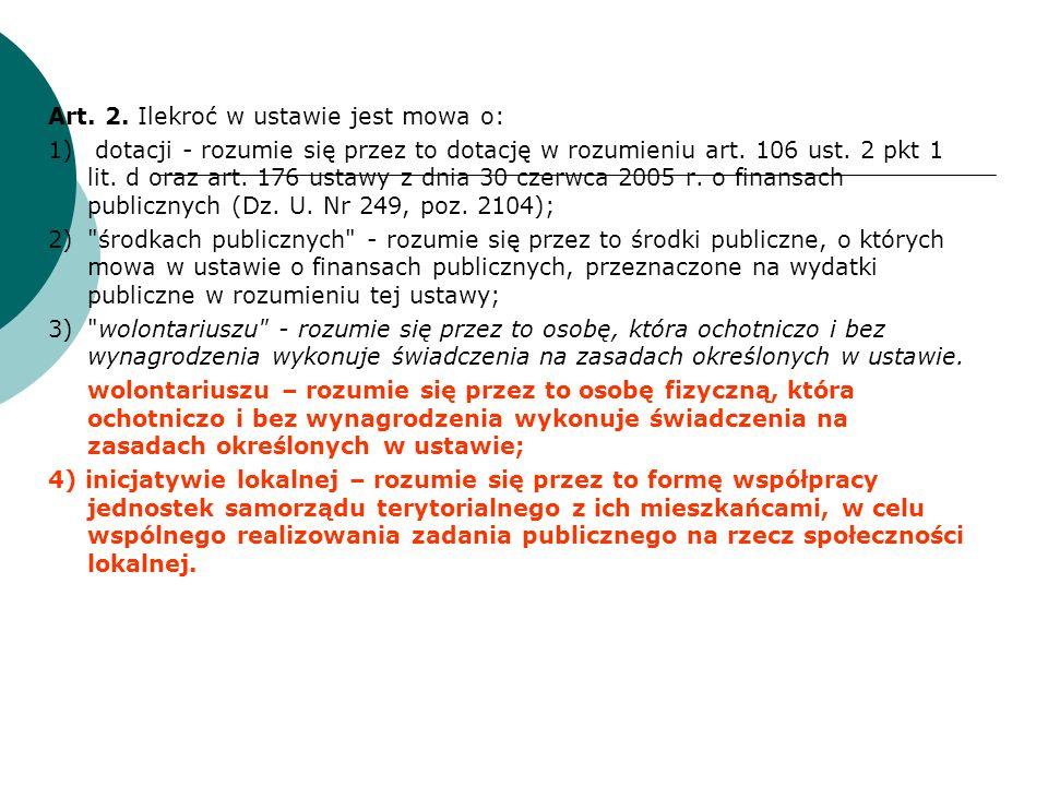 Art. 2. Ilekroć w ustawie jest mowa o: 1) dotacji - rozumie się przez to dotację w rozumieniu art.
