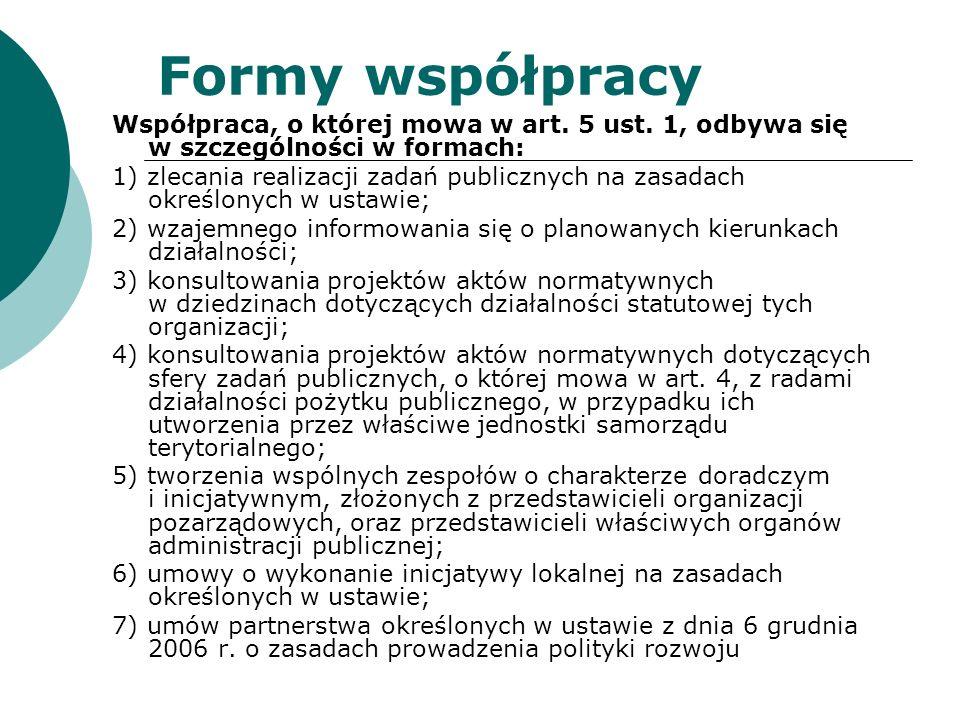 Formy współpracy Współpraca, o której mowa w art. 5 ust. 1, odbywa się w szczególności w formach: