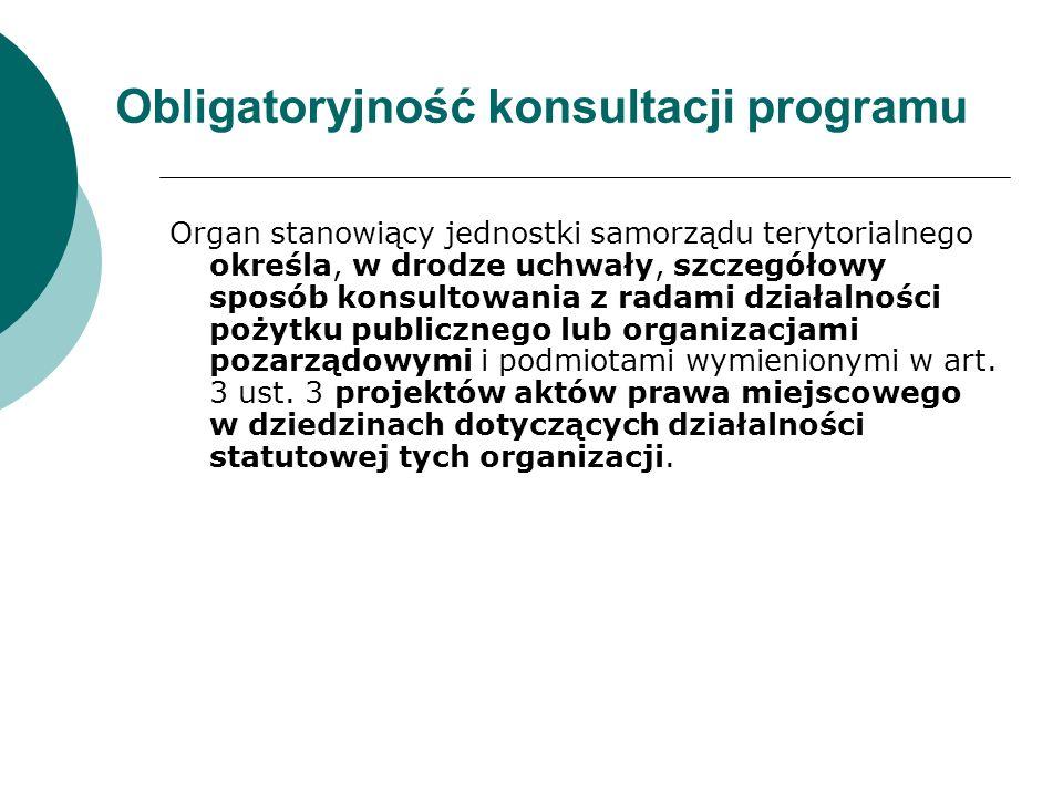 Obligatoryjność konsultacji programu