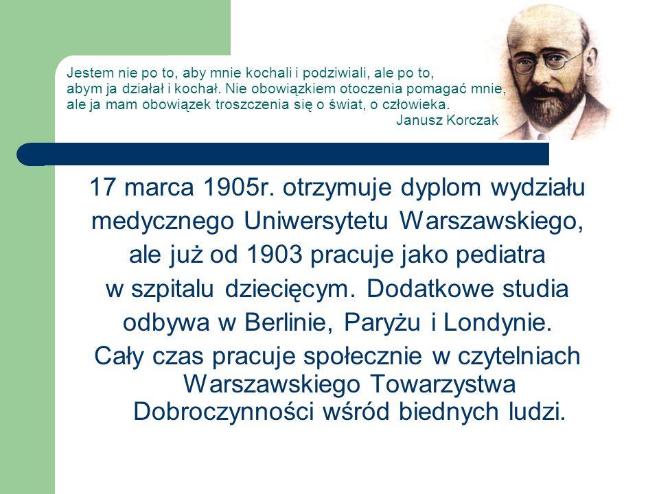 17 marca 1905r. otrzymuje dyplom wydziału