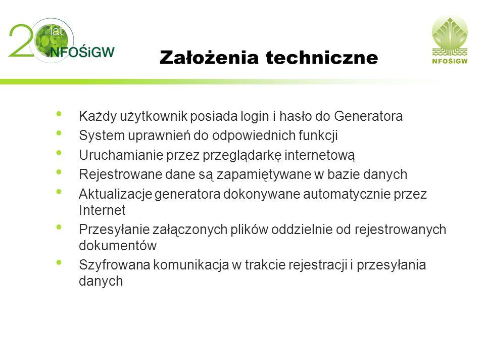 Założenia techniczne Każdy użytkownik posiada login i hasło do Generatora. System uprawnień do odpowiednich funkcji.