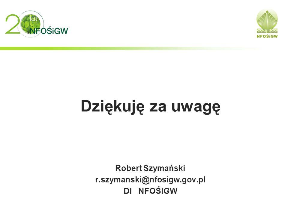 Dziękuję za uwagę Robert Szymański r.szymanski@nfosigw.gov.pl