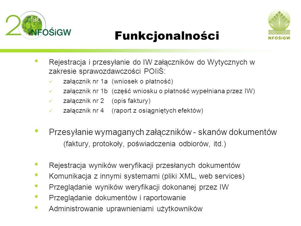 Funkcjonalności Przesyłanie wymaganych załączników - skanów dokumentów