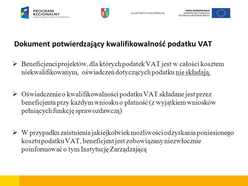 Dokument potwierdzający kwalifikowalność podatku VAT