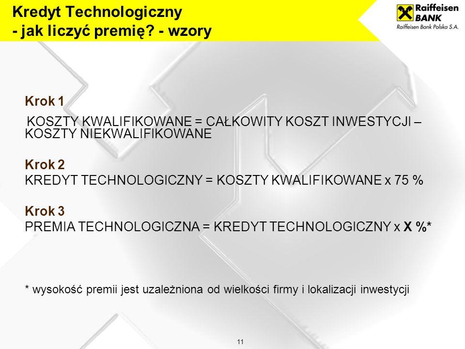 Kredyt Technologiczny - jak liczyć premię - wzory