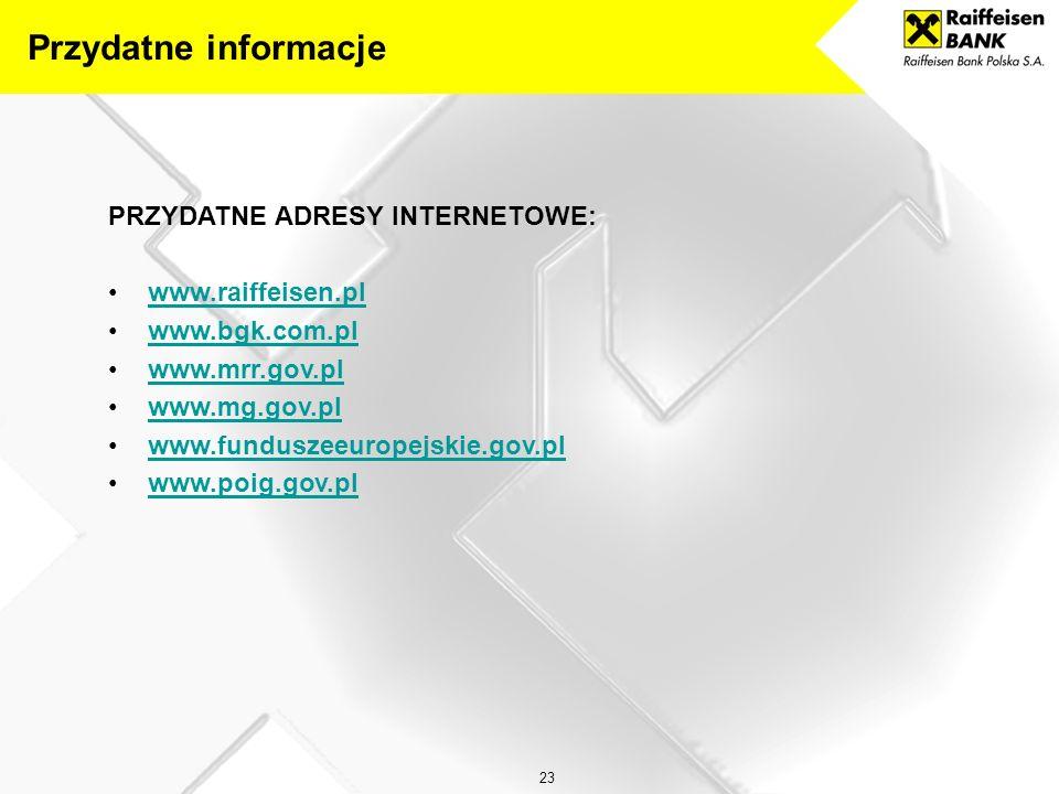 Przydatne informacje PRZYDATNE ADRESY INTERNETOWE: www.raiffeisen.pl
