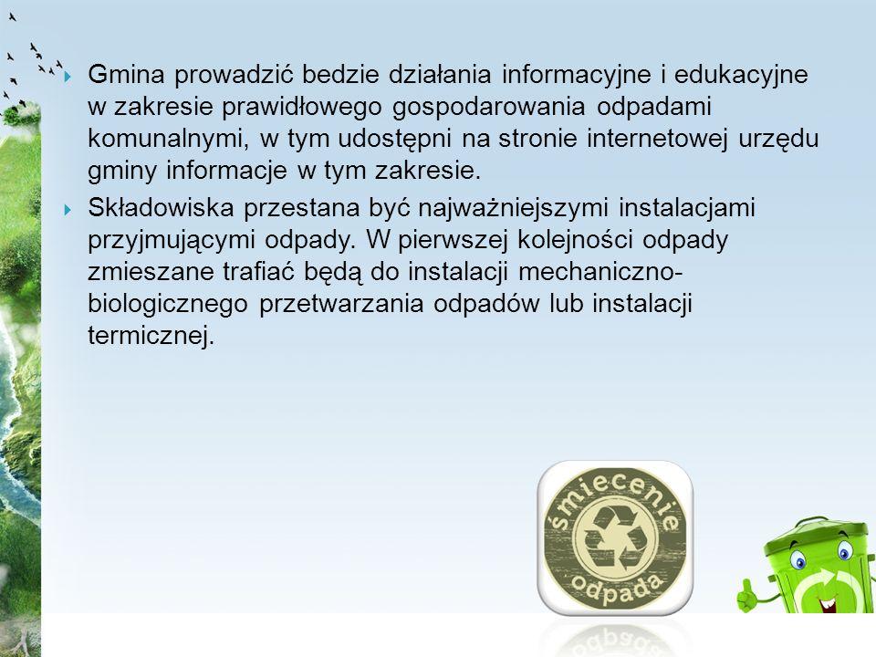 Gmina prowadzić bedzie działania informacyjne i edukacyjne w zakresie prawidłowego gospodarowania odpadami komunalnymi, w tym udostępni na stronie internetowej urzędu gminy informacje w tym zakresie.