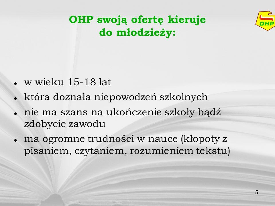 OHP swoją ofertę kieruje do młodzieży: