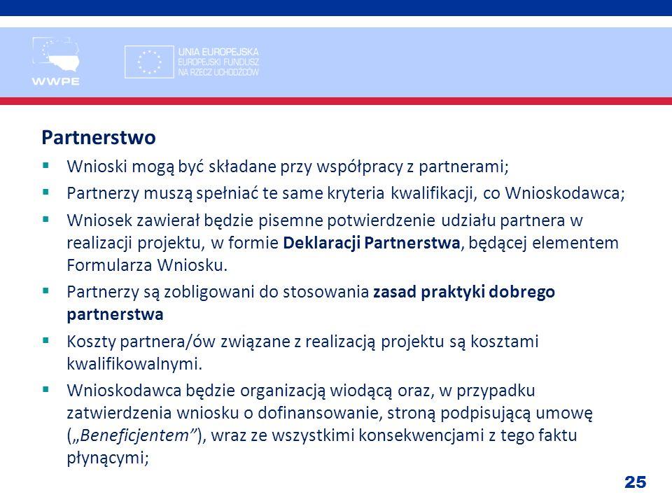 Partnerstwo Wnioski mogą być składane przy współpracy z partnerami;