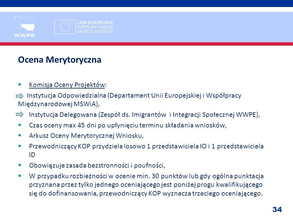Ocena Merytoryczna Komisja Oceny Projektów: