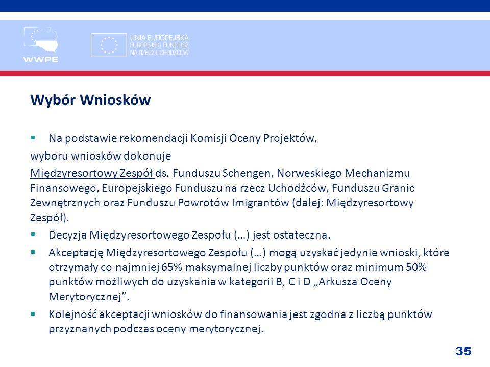 Wybór Wniosków Na podstawie rekomendacji Komisji Oceny Projektów,