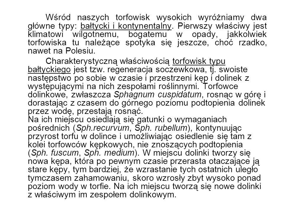 Wśród naszych torfowisk wysokich wyróżniamy dwa główne typy: bałtycki i kontynentalny. Pierwszy właściwy jest klimatowi wilgotnemu, bogatemu w opady, jakkolwiek torfowiska tu należące spotyka się jeszcze, choć rzadko, nawet na Polesiu.