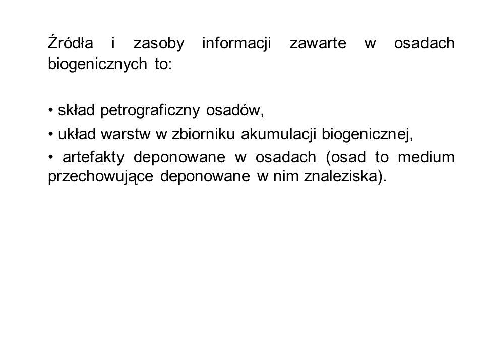 Źródła i zasoby informacji zawarte w osadach biogenicznych to: