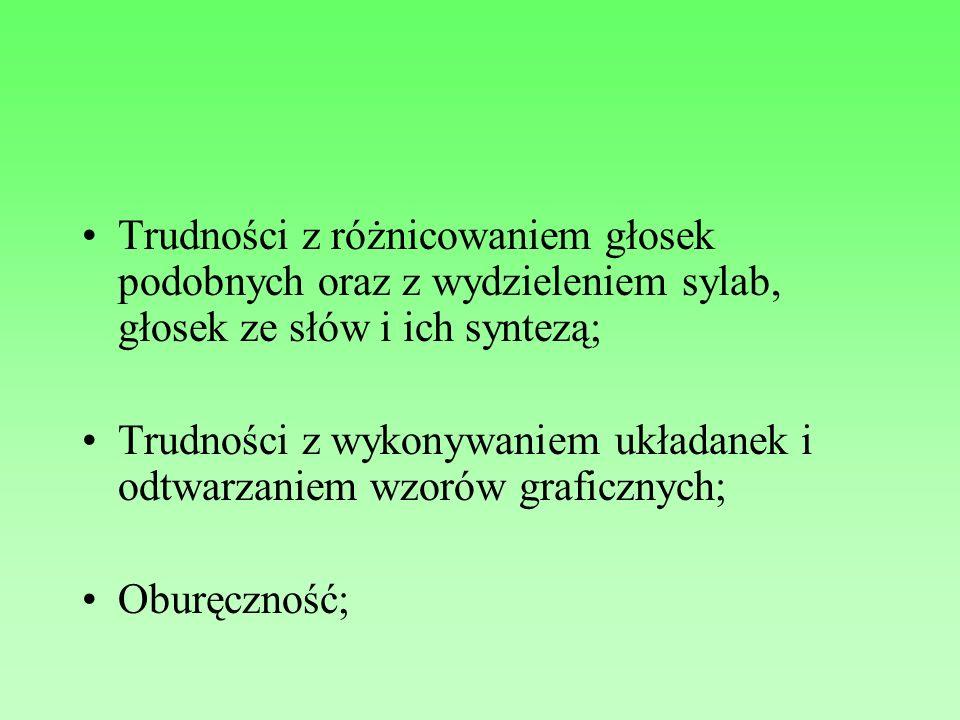 Trudności z różnicowaniem głosek podobnych oraz z wydzieleniem sylab, głosek ze słów i ich syntezą;