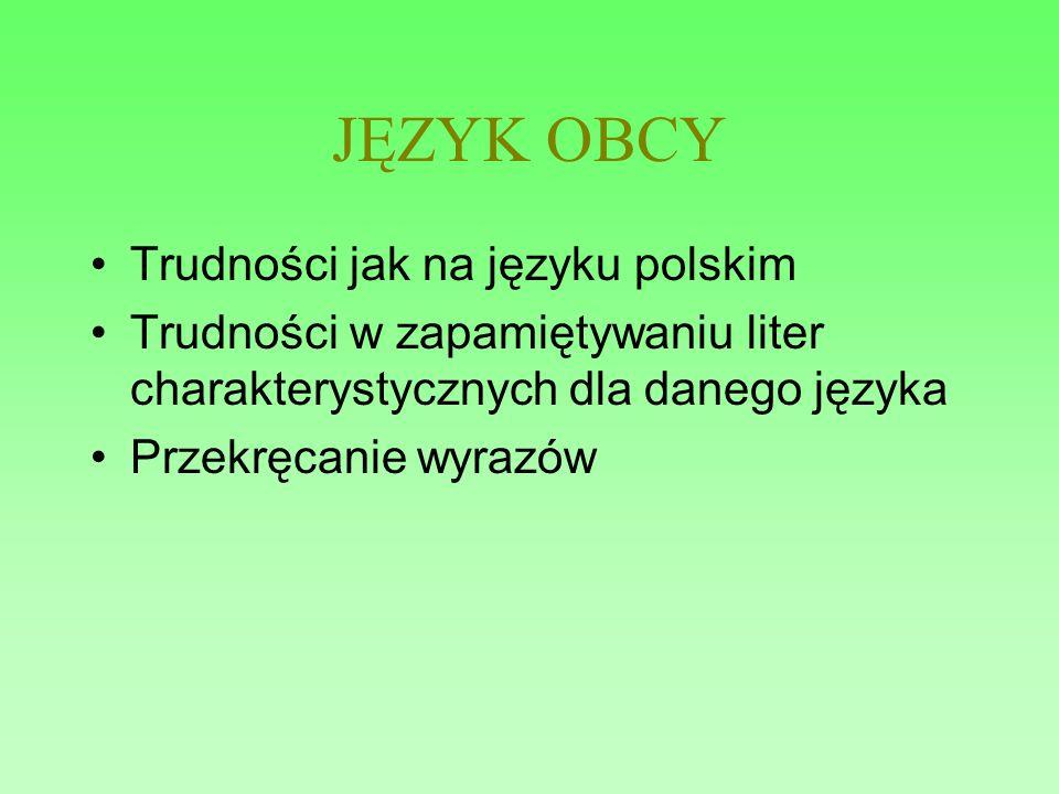 JĘZYK OBCY Trudności jak na języku polskim