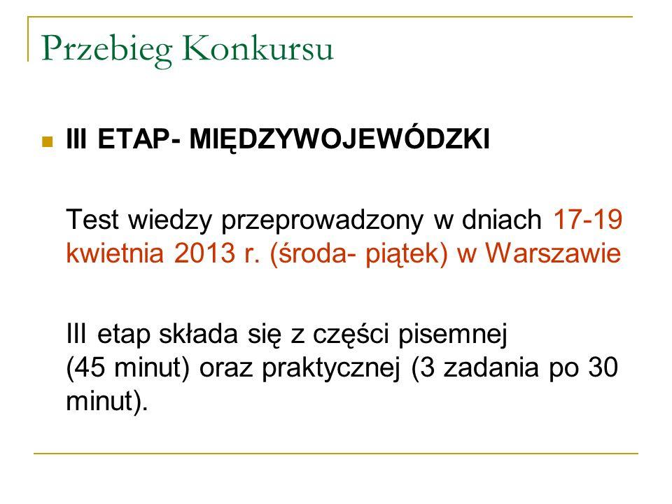 Przebieg Konkursu III ETAP- MIĘDZYWOJEWÓDZKI
