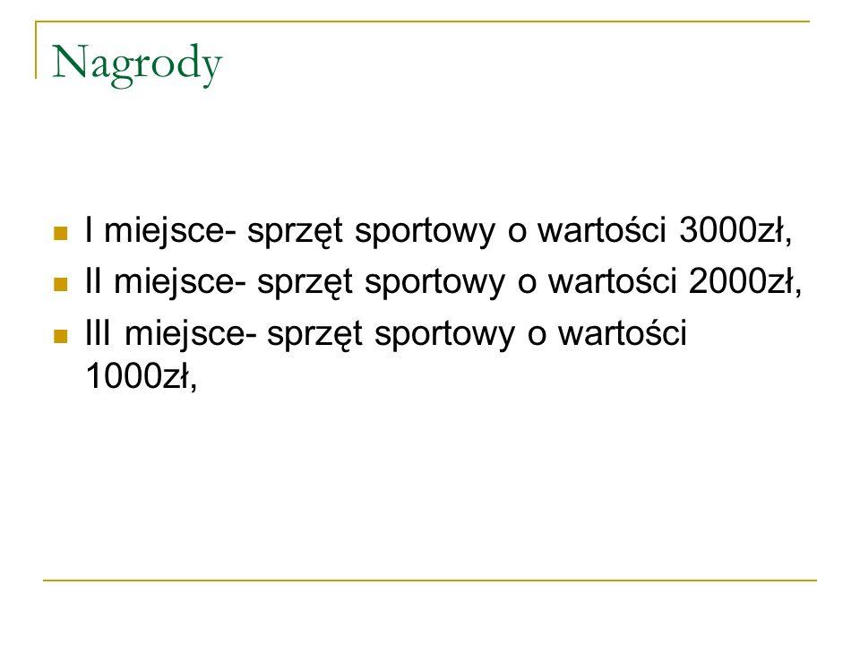 Nagrody I miejsce- sprzęt sportowy o wartości 3000zł,