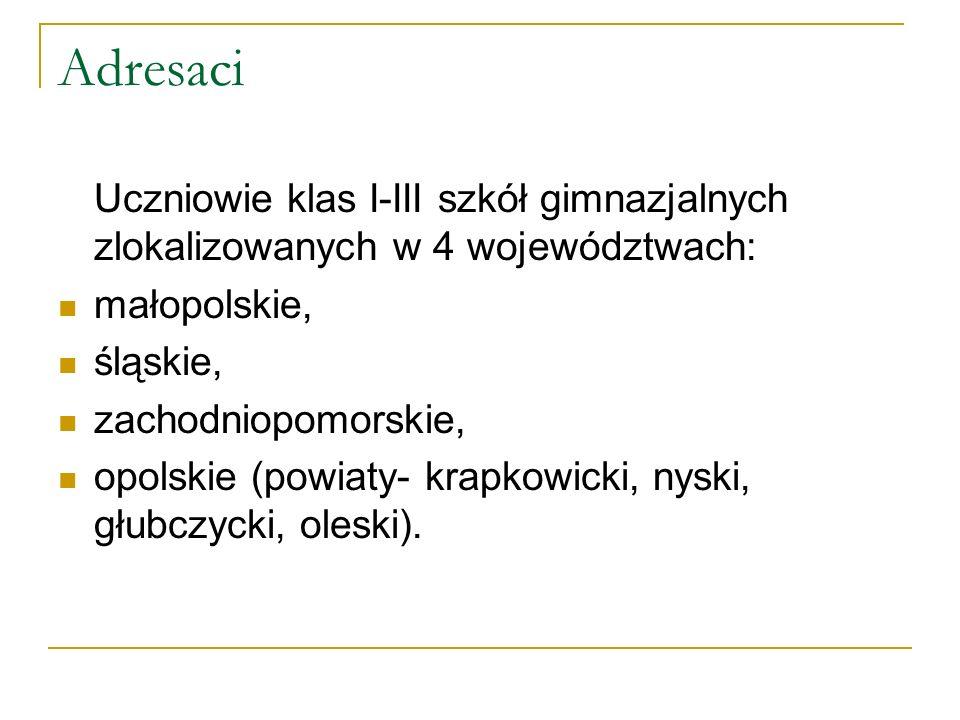 Adresaci Uczniowie klas I-III szkół gimnazjalnych zlokalizowanych w 4 województwach: małopolskie, śląskie,