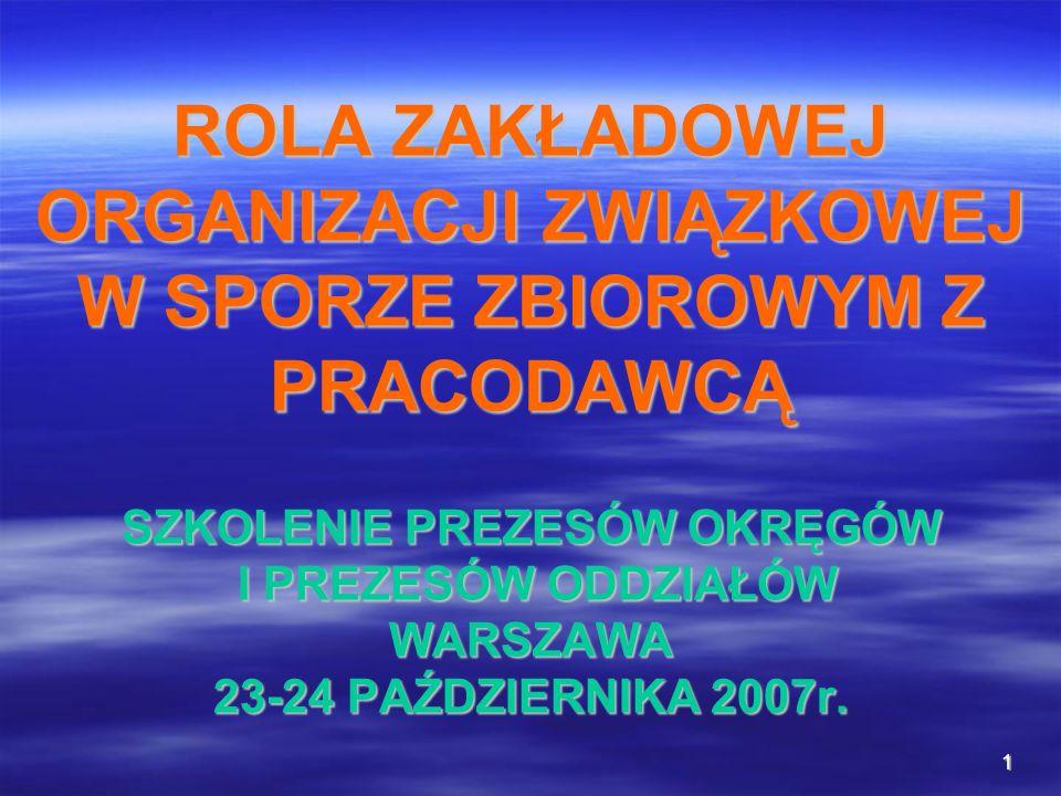 ROLA ZAKŁADOWEJ ORGANIZACJI ZWIĄZKOWEJ W SPORZE ZBIOROWYM Z PRACODAWCĄ SZKOLENIE PREZESÓW OKRĘGÓW I PREZESÓW ODDZIAŁÓW WARSZAWA 23-24 PAŹDZIERNIKA 2007r.