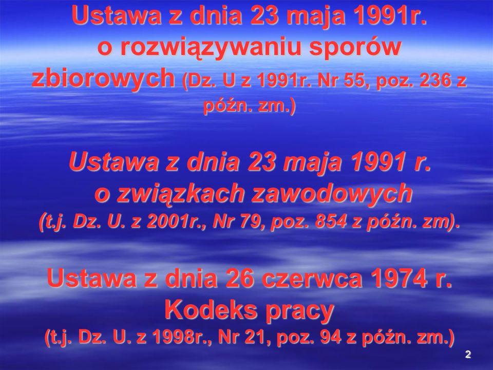 Ustawa z dnia 23 maja 1991r. o rozwiązywaniu sporów zbiorowych (Dz