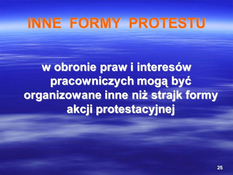 INNE FORMY PROTESTU w obronie praw i interesów pracowniczych mogą być organizowane inne niż strajk formy akcji protestacyjnej.