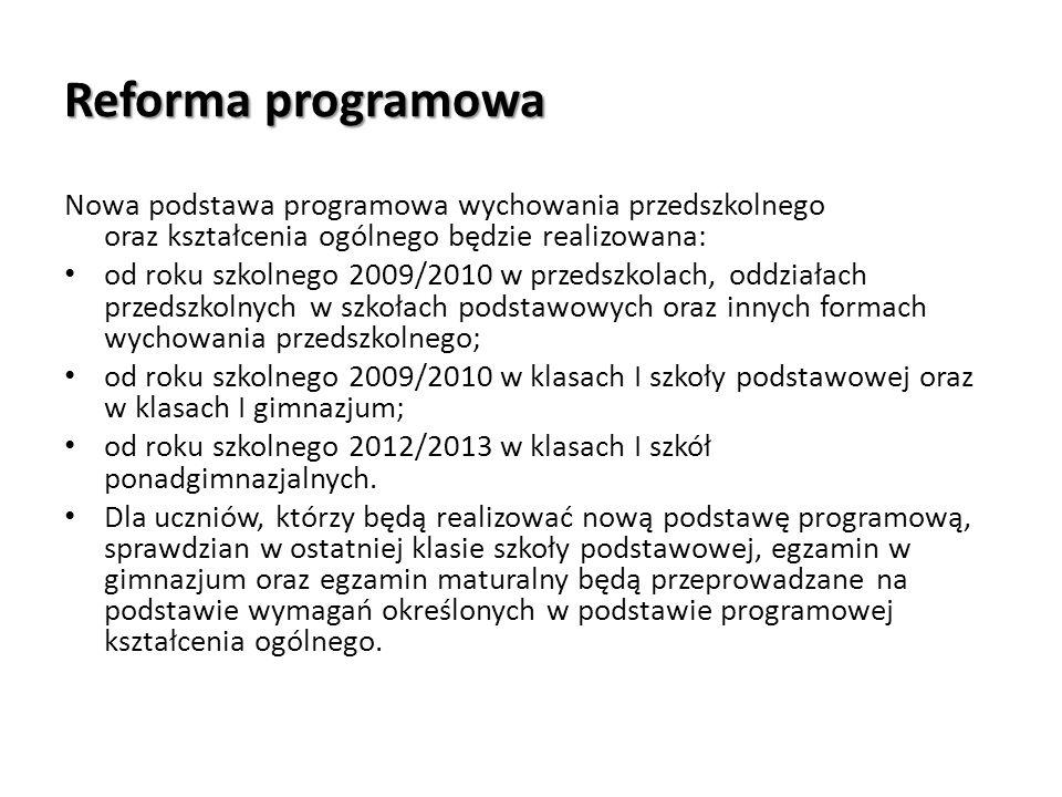 Reforma programowaNowa podstawa programowa wychowania przedszkolnego oraz kształcenia ogólnego będzie realizowana: