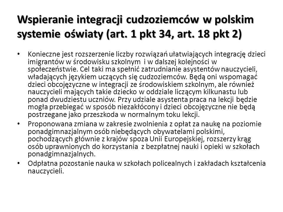 Wspieranie integracji cudzoziemców w polskim systemie oświaty (art