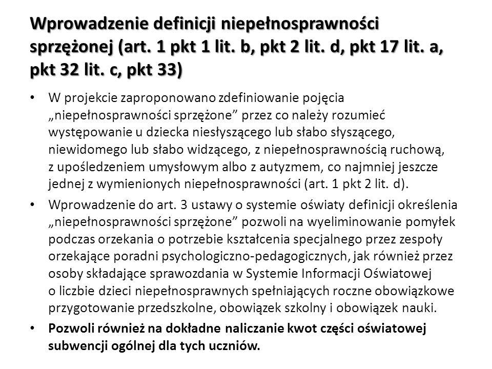 Wprowadzenie definicji niepełnosprawności sprzężonej (art. 1 pkt 1 lit