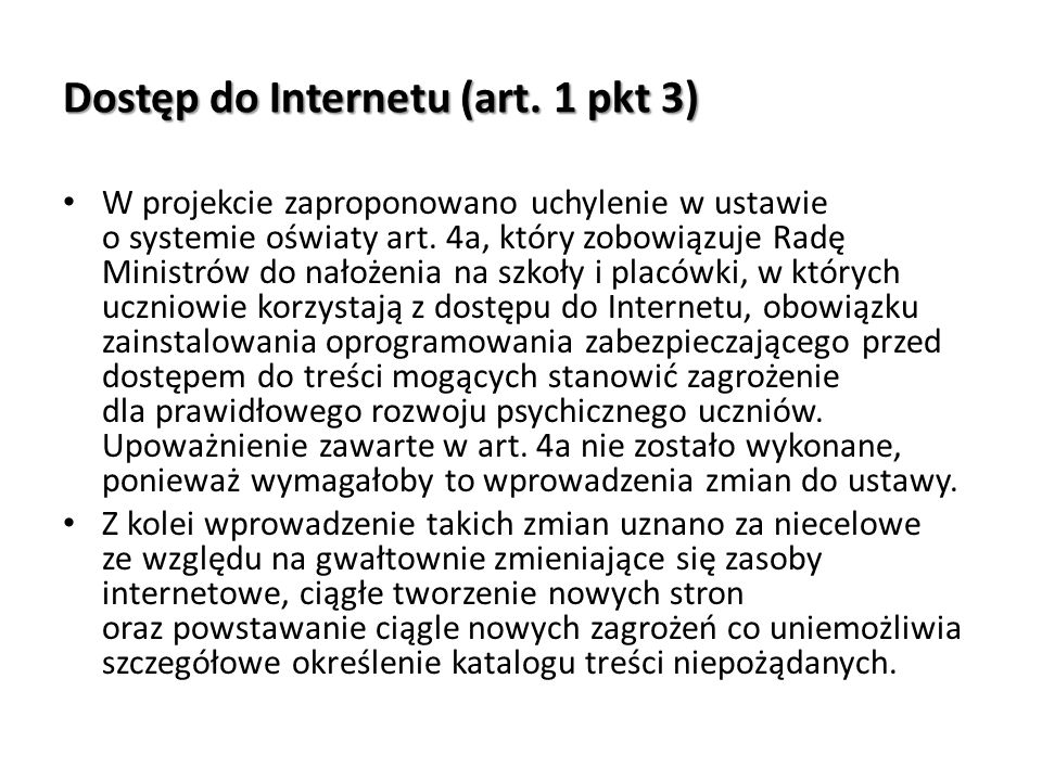Dostęp do Internetu (art. 1 pkt 3)