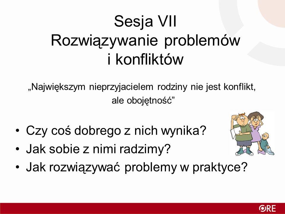 Sesja VII Rozwiązywanie problemów i konfliktów
