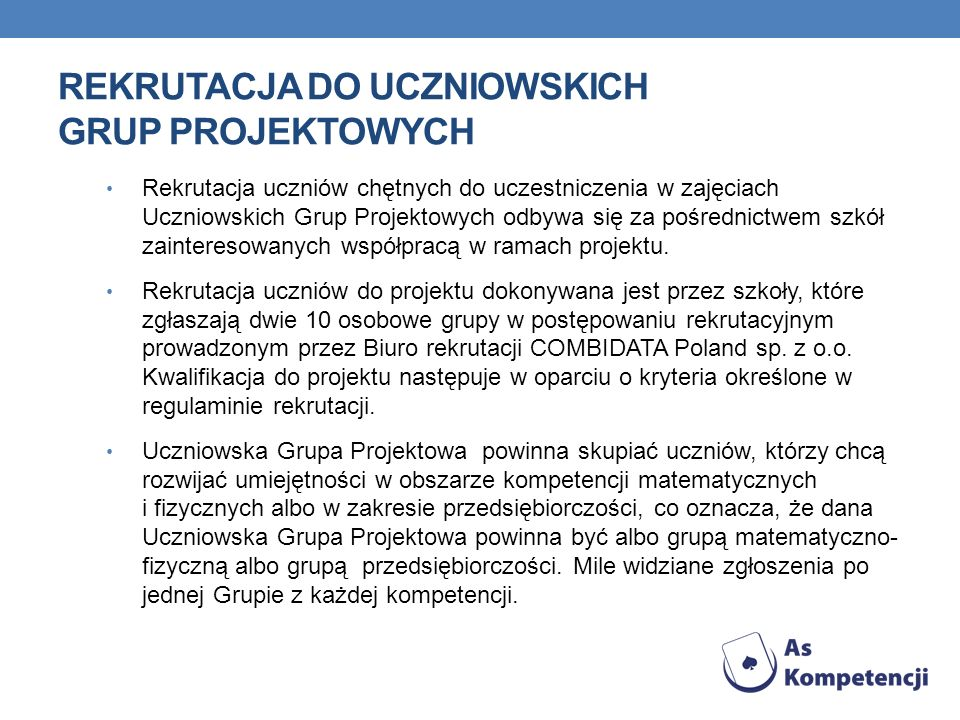 Rekrutacja do Uczniowskich Grup Projektowych