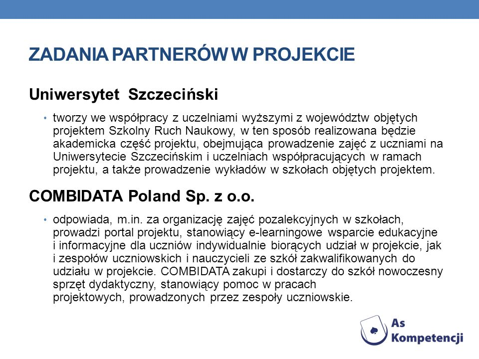Zadania Partnerów w Projekcie