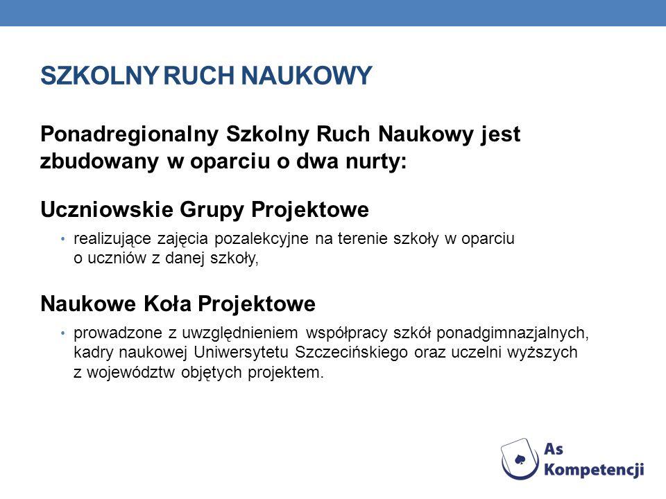 SZKOLNY RUCH NAUKOWYPonadregionalny Szkolny Ruch Naukowy jest zbudowany w oparciu o dwa nurty: Uczniowskie Grupy Projektowe.