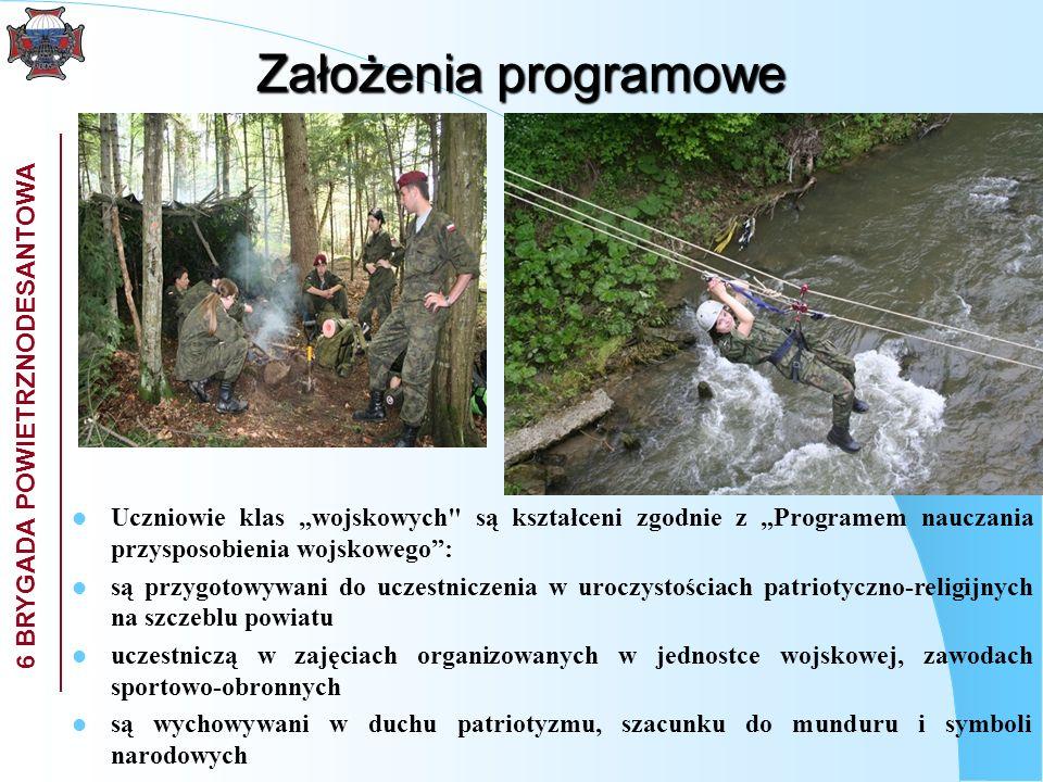 """Założenia programowe Uczniowie klas """"wojskowych są kształceni zgodnie z """"Programem nauczania przysposobienia wojskowego :"""
