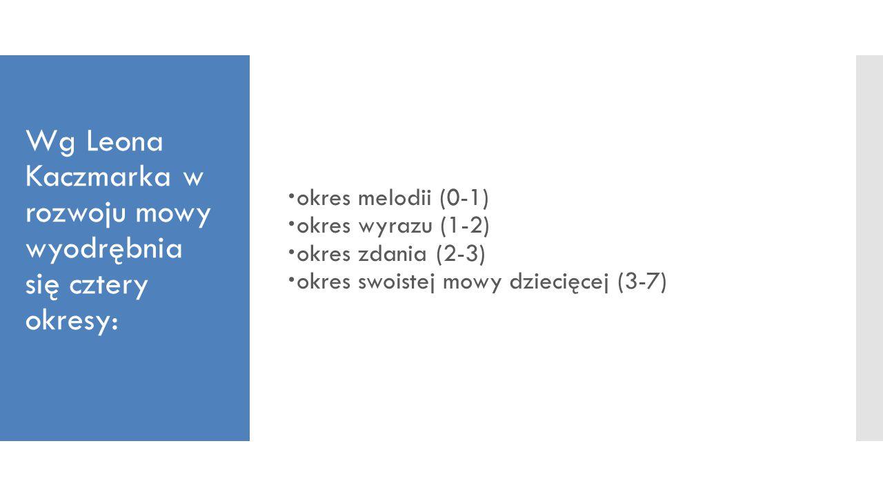 Wg Leona Kaczmarka w rozwoju mowy wyodrębnia się cztery okresy: