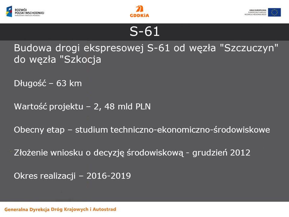 S-61 Budowa drogi ekspresowej S-61 od węzła Szczuczyn do węzła Szkocja. Długość – 63 km. Wartość projektu – 2, 48 mld PLN.