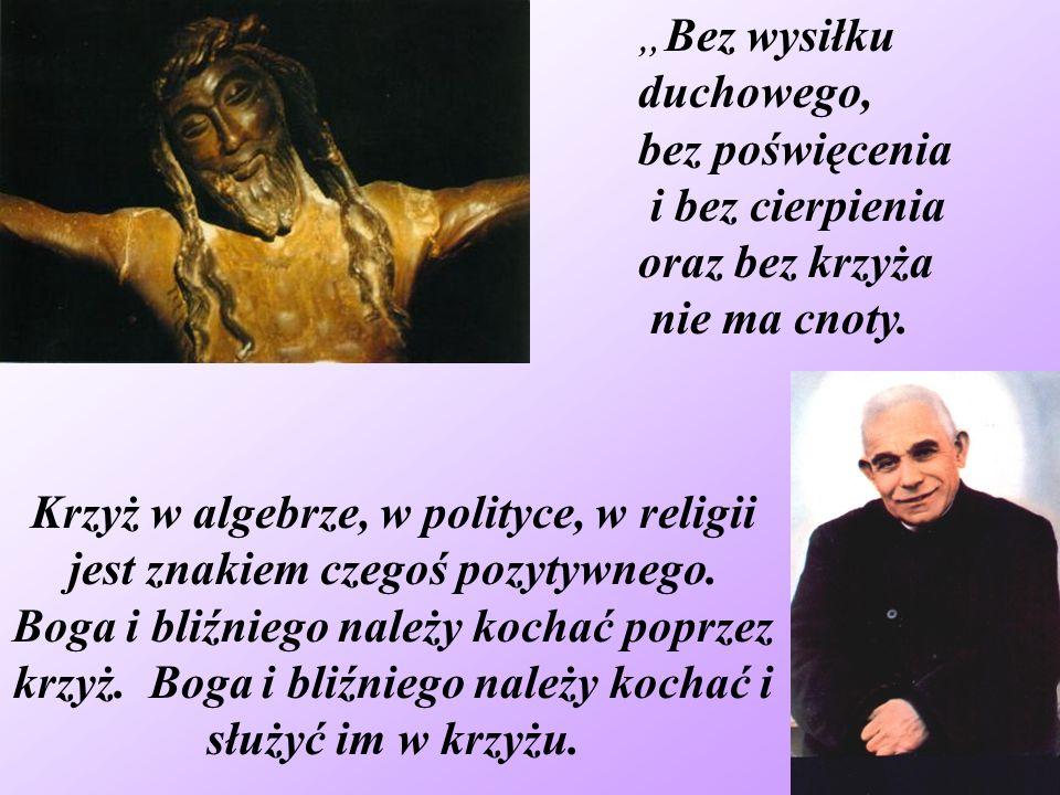 """""""Bez wysiłku duchowego, bez poświęcenia. i bez cierpienia. oraz bez krzyża. nie ma cnoty."""