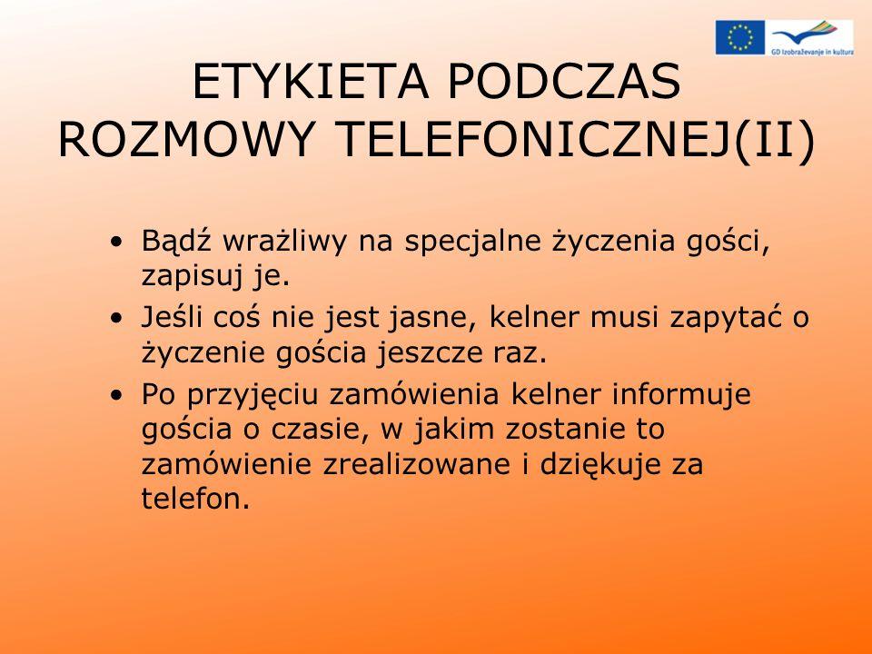 ETYKIETA PODCZAS ROZMOWY TELEFONICZNEJ(II)