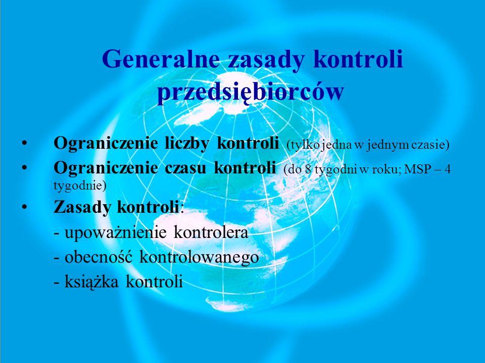 Generalne zasady kontroli przedsiębiorców